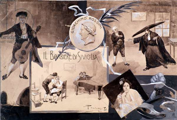 Illustrations for the opera 'The Barber of Seville', by Gioachino Rossini (litho)