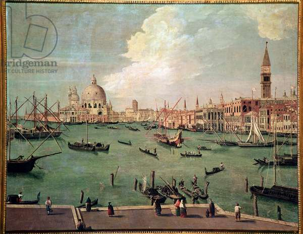 View on the basin of St Mark, Venice, with the basilica of Santa Maria della Salute in the background Painting by Vincenzo Chilone (1758-1839) Dim 100x135 cm Venice, Museo Correr, n 151
