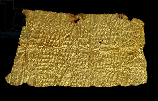 Lamina in inscribed gold from Hipponion (Vibo Valentia)