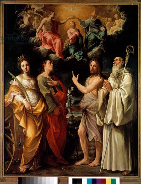 The Coronation of the Virgin with Four Saints (Catherine of Alexandria, John the Evangelist, John the Baptist and Bernard) - The Virgin Mary is represented in heaven with the Trinity (Jesus Christ, God and the dove of the Holy Spirit (Holy Spirit) (Coronation of the Virgin) Painting by Guido Reni (1575-1642) says the Guide 1595-1598 Dim 253x197 cm Bologna Pinacoteca Nazionale