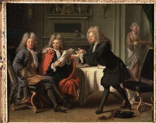 "The ""Maison d'Auteuil"" Salon where Fontenelle, La Motte and Saurin are reunited, with Madame de Tencin bringing chocolate, 1716"
