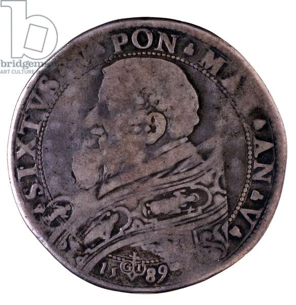 Silver italian coin (ecu) of Pope Sixte (Sixtus) V (1585-1590) from Vatican. 1589. Diam. 4,3 cm Naples, museo archeologico