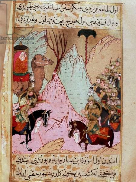 "Aicha, widow of the prophete Muhammad, faces the 4th Caliph Ali in the battle of the camel in 656 Miniature from """" Siyer-i Nebi"""" (Siyer i Nebi) epic poem about the life of the prophete Muhammad written by Mustafa, son of Yusuf d'Erzurum under the rem of Murad III (1574-1595). Miniature of Lutfi Abdullah (d. 1607) 16th century Istanbul, Topkapi Sarayi Museum"