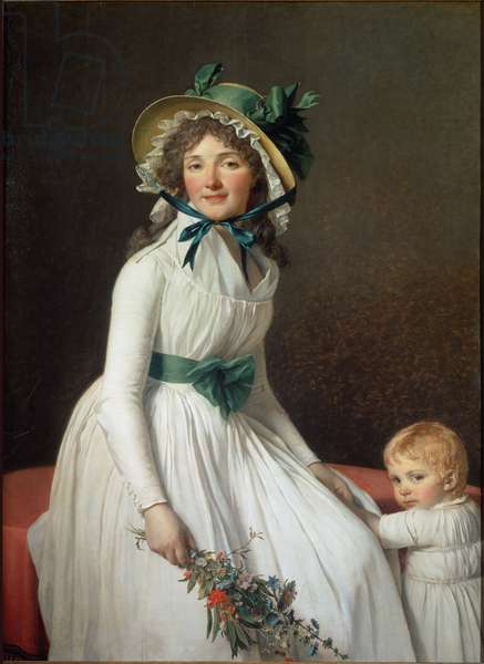 Portrait of Madame Seriziat, wife's sister of the artist with her son Emile - oil on canvas, 1793
