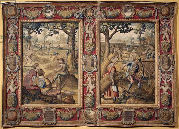 """July and August: """""""" agricultural works and harvests"""""""" Tapestry of the manufactures of Mortlake. 17th century Genes, Musei di Strada Nuova"""