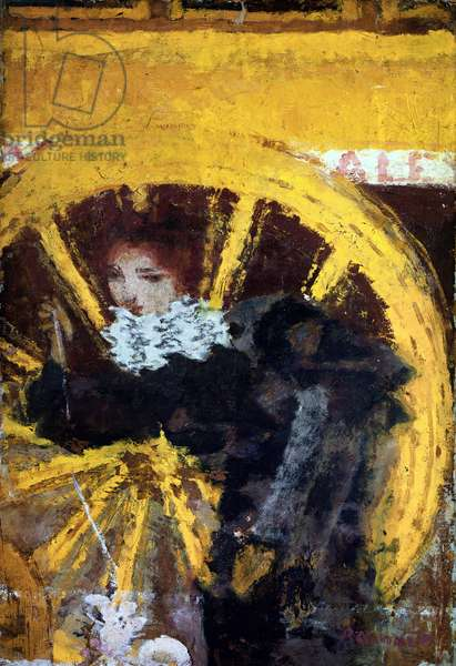 The omnibus Young woman and her dog near the wheels of a carriage. Painting by Pierre Bonnard (1867-1947) 1895 Collection Vicomtess de Maublanc