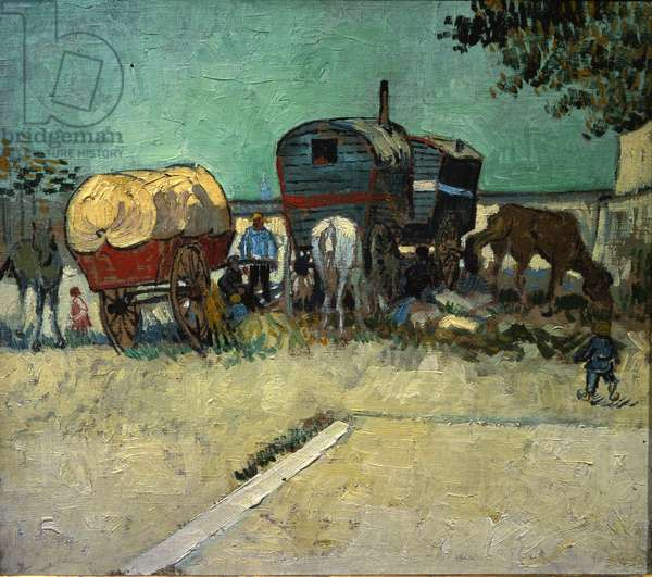 Trailers, Bohemian encampment in the vicinity of Arles (Oil on canvas, 1888)