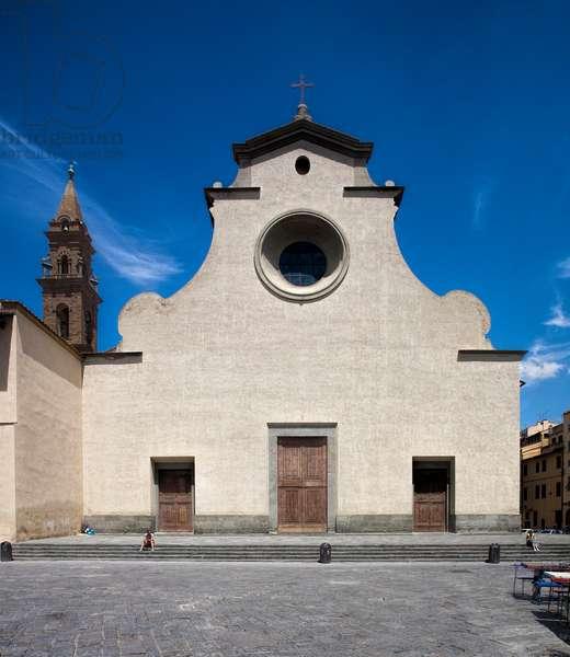 Unfinished facade of the Basilica of Santo Spirito, designed by Filippo Brunelleschi (1377-1446) (Unfinished facade of basilica of santo Spirito, Florence)