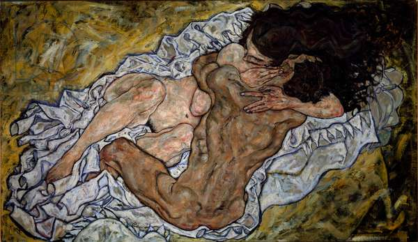The embrace. Painting by Egon Schiele (1890-1918), 1917. Oil on canvas. Dim: 100x170cm. Vienna, Belvedere Gallery.