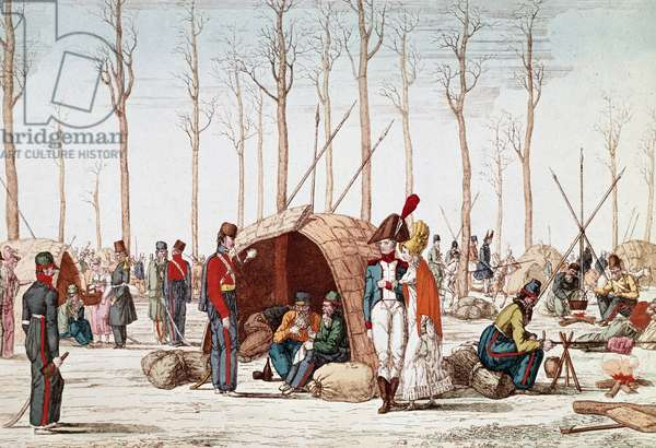 "Campagne de France, 1814: """" le bivouac des soldats russe sur les Champs Elysees, Paris, 31/03/1814"" (Russian soldiers bivouacking on the Champs-Elysees, Paris, France, 31 March 1814) Engraving du 19th century Paris, musee carnavalet"