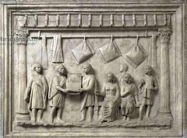 "Roman art: """" a merchant of cushions"""" Roman relief - Galleria degli Uffizi (Offices) Florence - Cushion and Soft Furnishing store - Marble relief, Roman art, Augustan period, 1rst century - Galleria degli Uffizi, Florence, Italy"