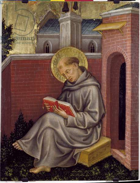 Valle Romita Polyptych: detail of st Thomas Aquinas (tempera on panel, ca. 1400)
