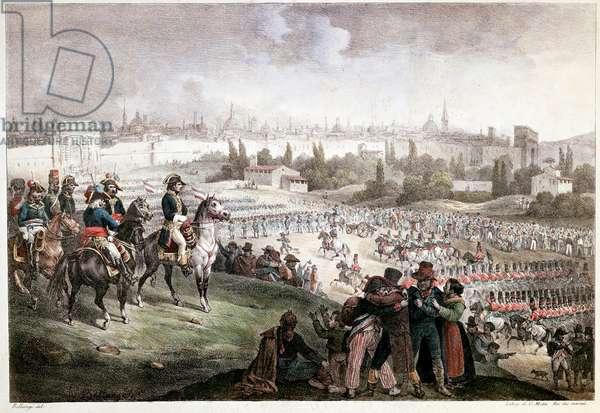 """Campagne d'Italie : entree de Napoleon Bonaparte (1769-1821) a Milan le 15/05/1796"""""""" Gravure Museo Nazionale del Risorgimento Turin ©Luisa ricciarini/leemage"""