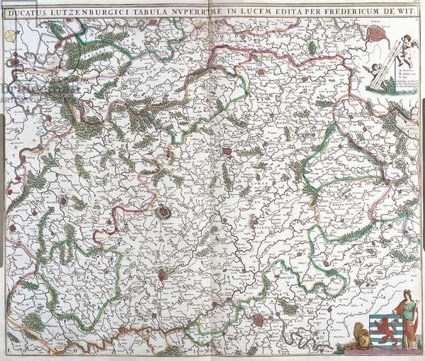 """Map of the Duche of Luxembourg - Strong water extracted from """"Theatrum Orbis"""""""", 1671, by Frederick De Wit (Frederico de Witt) (1630-1706)"""