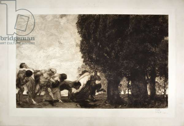 BBacchantes, satyrs and nymphs (etching, 20th century)