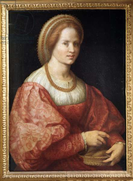 Portrait of Lady with a Basket of Spindles - oil on panel, 1516