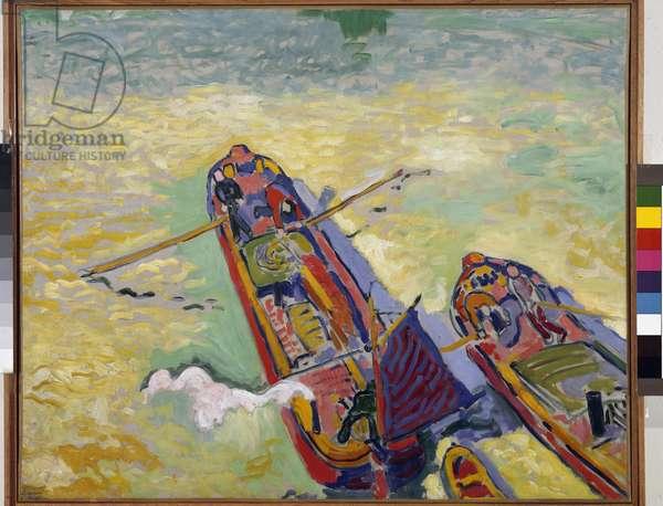 Les deux peniches Painting by Andre Derain (1880-1954) 1906 Dim 80x97,5 cm Musee National d'Art Moderne, Centre Georges Pompidou Paris
