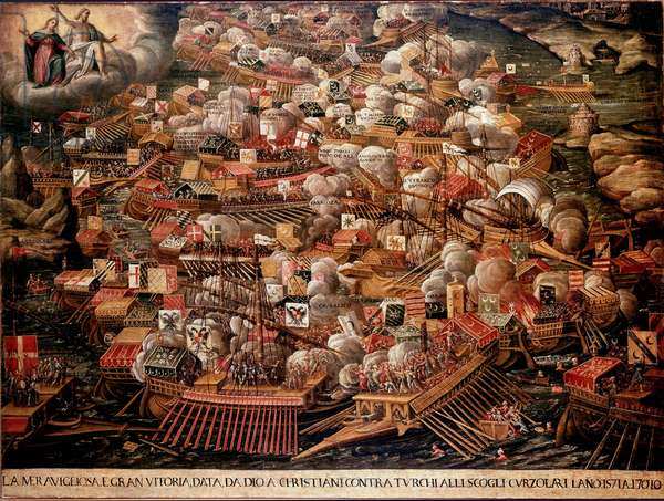 The Battle of Lepanto off Greece between a Spanish, Venetian and Pope forces alliance against the Ottomans in 1571. Anonymous painting. 16th century. Venice Museo Correr