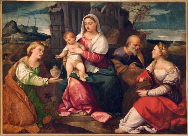 Holy Family with Mary Magdalene and St. Catherine, 1528-30 (oil on canvas)