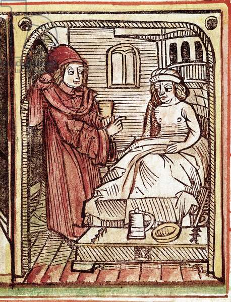 "A physician gives to his patient a treatment made with medicinal plants Engraving from ""Tractatus de pestilentia"""" 15th century - Prague, National Library"