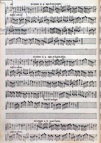 Sheet music page of treatise on ornamentation by Girolamo della Casa, 1584