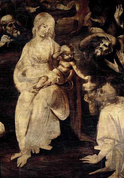 Adoration of the magi. Detail of the Virgin Mary. Painting by Leonardo da Vinci (Leonardo da Vinci) (1452-1519) 1481-1482 Dim 246x243 cm Florence, galleria degli Uffizi (Offices)