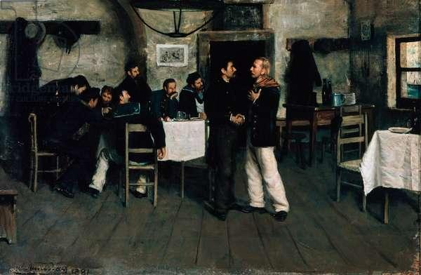 Meeting of Giuseppe Garibaldi (1807-1882) and Giovanni Battista Cuneo (1809-1875) at Taganrog, port on the Black Sea in 1833, by Italo Nunes Vais (1860-1932), 1883 (oil on canvas)