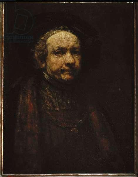 Self-portrait. Painting by Harmenszoon Van Rijn Rembrandt (1606-1669), 1664. Oil on canvas. Dim: 74 x 55 cm. Uffizi Museum, Florence