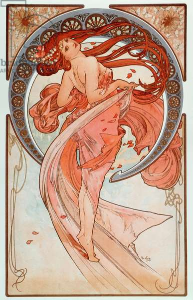 "La danse Lithographs series by Alphonse Mucha (1860-1939), 1898 - """" The dance"""" From a serie of lithographs by Alphonse Mucha, 1898 Dim 38x60 cm Private collection"