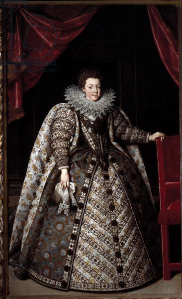 Portrait of Elisabeth of France (1602-1644) (Elisabeth de Bourbon) She has a strawberry collar. Painting by Frans Pourbus II the Young (1569-1622), 1615 Florence, Galleria Palatina