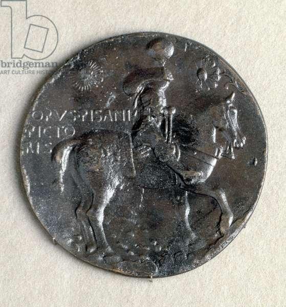 Medaglia di Ludovico III Gonzaga (1414-1478), marchese di Mantova. Recto: il marchese armato a cavallo, bronzo, patina nera