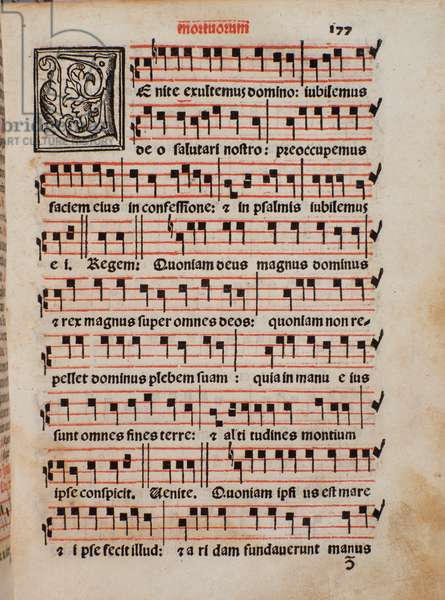 "Page of the liturgy book """" Liber Sacerdotalis"""" by Castellini, 1523 - Bologna, civico museo musicale"