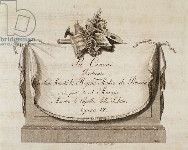 """Frontispiece of musical score of """"Sei canoni"""" by italian composer Natale Mussini (1765-1837) dedicated to the Queen of Prussia"""