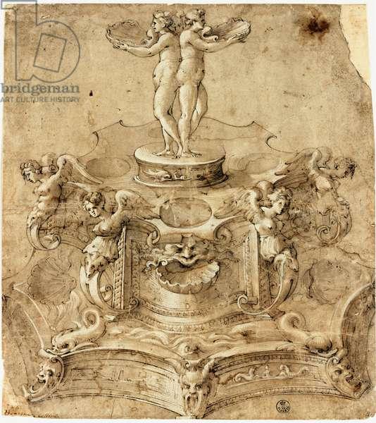 Saliere of hexagonal shape. Drawing by Benvenuto Cellini (1500-1571) Florence, Uffizi Museum, Gabinetto Disegni e Stampe