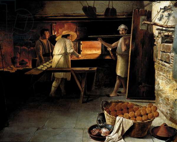 View from the inside of a bakery Bakers bake the bread in the oven. Anonymous painting of the 18th century. Rome, Museo del Folklore
