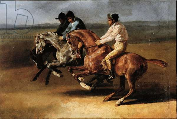 Start of the horse race with horsemen (Oil on canvas, 19th century)