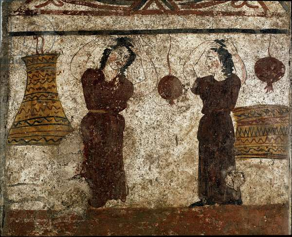 A group of dancers during a funeral rite Lucanian fresco from the 4th century BC, from the necropolis of Paestum, Italy. Museo nazionale archeologico, Paestum