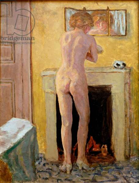 Naked standing at his toilet Painting by Pierre Bonnard (1867-1947) 1919 Saint Tropez, Musee de l'Annociade