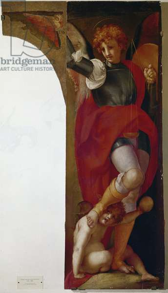 The Archangel Saint Michael (Michael Archangel). Painting by Jacopo Carrucci dit Pontormo (1494-1556), oil on wood, 173x96 cm, circa 1519. Pontorme, Chiesa di San Michele