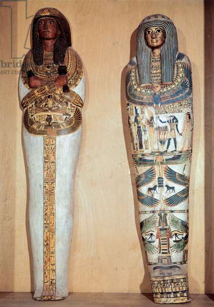 Egyptian antiquite: casket of Panebmontou (left) 21st dynasty (around 1069-945) and Jedkhonsuioufankh, from the 3rd intermediate period (around 1069-664 BC). Paris, Louvre Museum