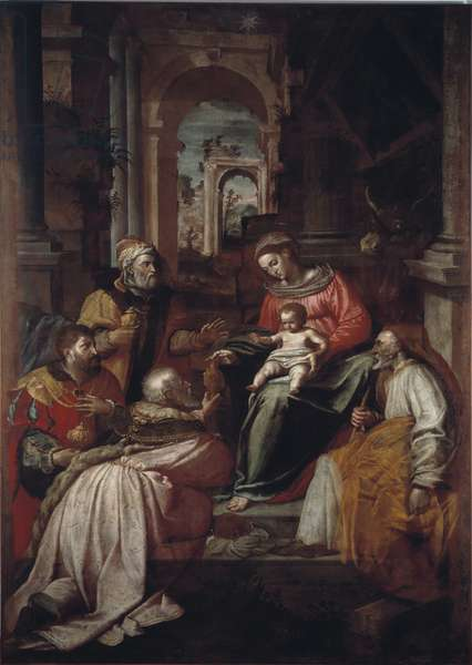 Adoration of the Magi Painting by Giovanni Battista Perolli (16th century) 1567 Genes, Museo Diocesano