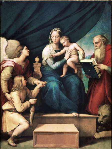 Madonna with Fish (Virgin and Child with Saint Gabriel, Saint Jerome and Tobias) Painting by Raphael dit Raffaello Sanzio (1483-1520). Around 1513. Madrid. Prado Museum