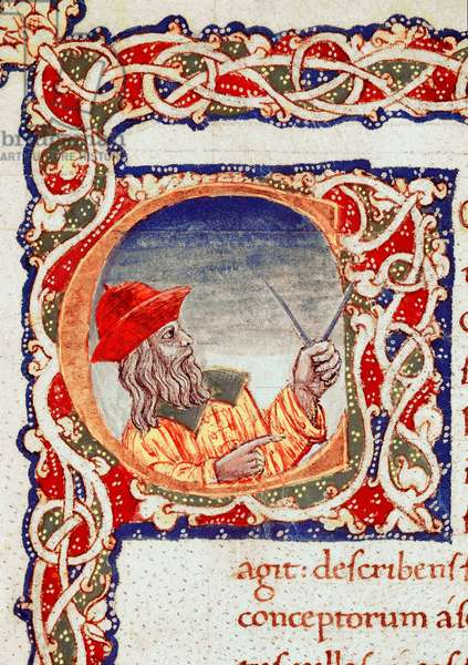 Greek astronomer Claudius Ptolemy using a compass to make calculations (miniature)
