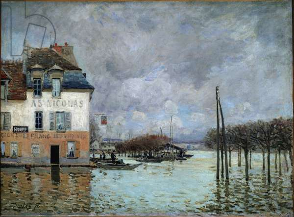 Flood at Port Marly (Port-Marly) by Alfred Sisley (1839-1899). Oil on canvas, 1876. Musee d'Orsay. ©Luisa Ricciarini/Leemage