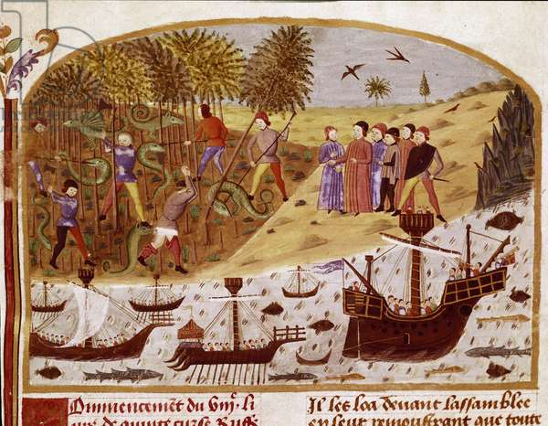 """The fleet of King Alexander the Great Miniature taken from """""""" Book of Facts of Alexander the Great"""""""" by Quintus Curtius Rufus (Quinte Curce) (1st century), about 1468 - (Ms 1335) Reims, Municipal Library"""