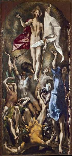 The resurrection of Christ. Painting by Domenikos Theotokopoulos Dit El Greco (1540-1614), 17th century. Oil on canvas. Dim: 2.75 x 1.27. Madrid, Prado Museum.