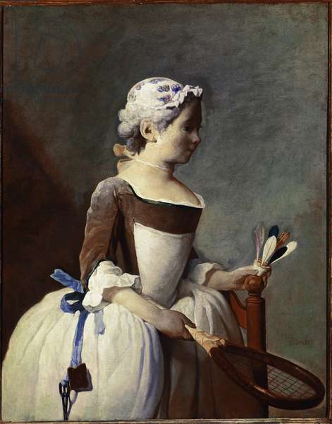 Girl with Racket and Shuttlecock Painting by Jean-Baptiste-Simeon (Jean Baptiste Simeon) Chardin (1699-1779) circa 1737 Dim 82x66 cm Florence Galleria degli Uffizi (Uffizi)