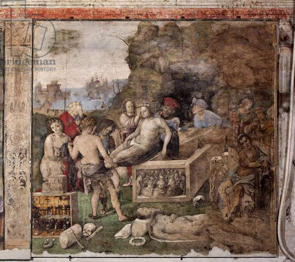 Life of St. Cecile: Burial of St Valerian and St Tiburtius (fresco, 1506)