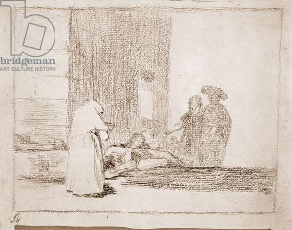 Charity of a Woman, illustration from 'The Disasters of War' series, c.1810-20 (crayon on paper)