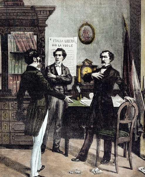 Risorgimento: The Five Days of Milan (Cinque giornate di Milano) (18-22 March 1848): this is one of the first episodes of the Revolutions of 1848 (part of the First Italian War of Independence) that saw the rise of the Milanese population insurgent against the Austrian occupation of Josef Radetzky. Meeting of Carlo Cattaneo, politician leading the negotiations, and Count Martini who wants to return the city of Milan to Charles Albert of Savoy (Carlo Alberto di Savoia) - (The Five days of Milan (18-22 March 1848), the Meeting between the politician Carlo Cattaneo (1801-1849) and the Count Enrico Martini (1818-1869), after the Milanese uprising against the Austrian occupation). Milan, Museo del Risorgimento